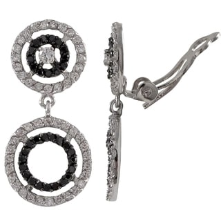 Sterling Silver Cubic Zirconia Graduated Open Circles Clip-on Earrings