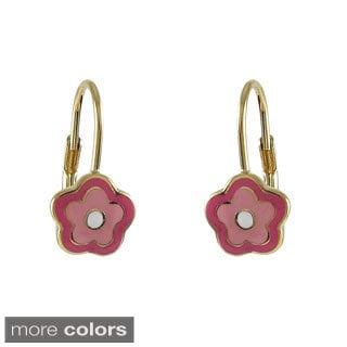 Goldtone Light and Dark Pink Enamel Flower Leverback Earrings