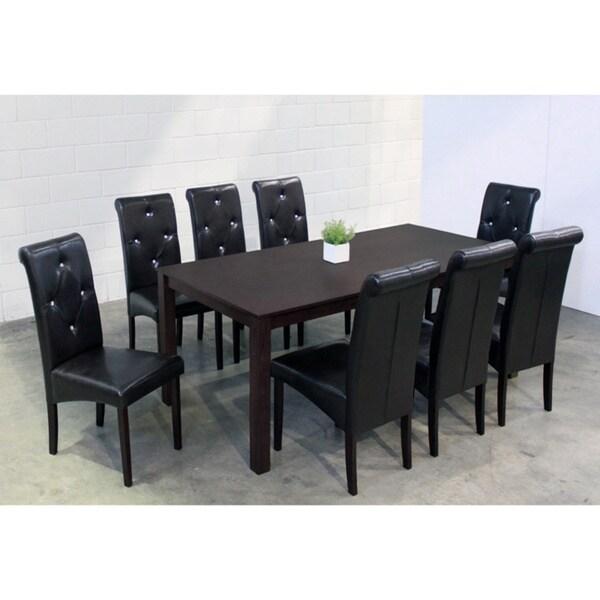 Warehouse of Tiffany 'Dita' Black 9-piece Dining Set