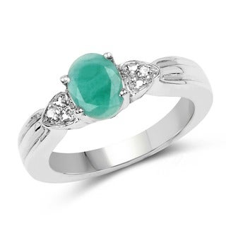 Malaika Sterling Silver 1 1/4ct TGW Emerald and White Topaz Ring