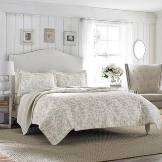 Laura Ashley Amberley Bisquit Reversible 3-piece Cotton Quilt Set