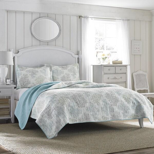 Laura Ashley Saltwater Blue Reversible 3 Piece Cotton