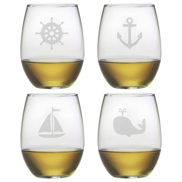 Nautical Icons 21-ounce Stemless Wine Glasses (Set of 4)