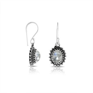 Handcrafted Sterling Silver Bali Rainbow Moonstone Antique Beadwork Dangle Earrings (Indonesia)