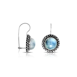 Handcrafted Sterling Silver Bali Round Rainbow Moonstone Dangle Earrings (Indonesia)