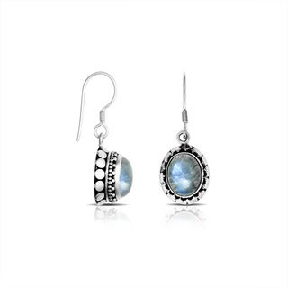 Sterling Silver Bali Rainbow Moonstone Earrings (Indonesia)