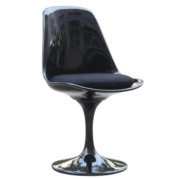 Black Flower Swivel Side Chair