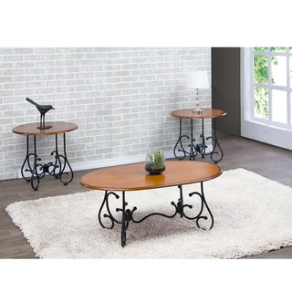 Calais Wood and Metal 3-Piece Contemporary Table Set