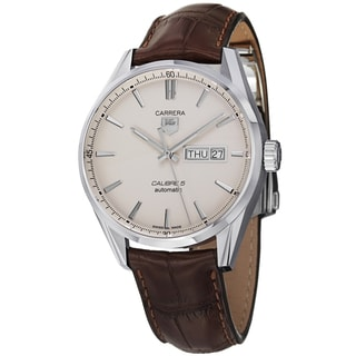 Tag Heuer Men's WAR201B.FC6291 'Carrera' White Dial Brown Leather Strap Automatic Watch