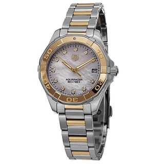 Tag Heuer Women's WAY1351.BD0917 '300 Aquaracer' Mother of Pearl Diamond Dial Two Tone Swiss Quartz Watch