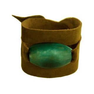 Faire Collection Tagua and Leather Wrap Bracelet in Jade (Ecuador)