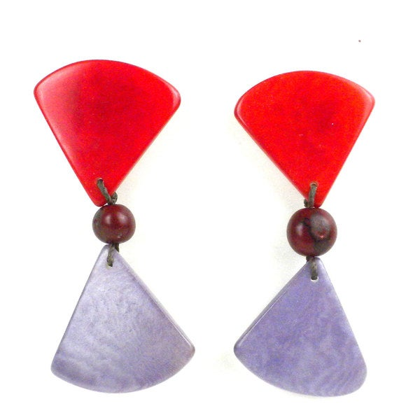 Faire Collection Tagua Hourglass Earrings in Sunset Orange (Ecuador)