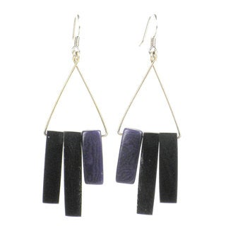 Faire Collection Bullhorn and Tagua Sticks Triangle Earrings in Plum (Ecuador)
