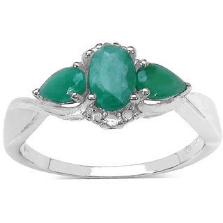 Sterling Silver 1ct TGW Genuine Emerald and Genuine Diamond Accents Ring