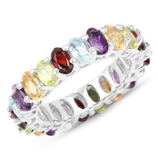 Malaika Sterling Silver 6 3/4ct TGW Amethyst with Multi Gemstones Ring