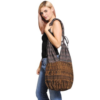 Boho Chic Natural Elephant Print Side Sling Cotton Hobo Bag (Nepal)