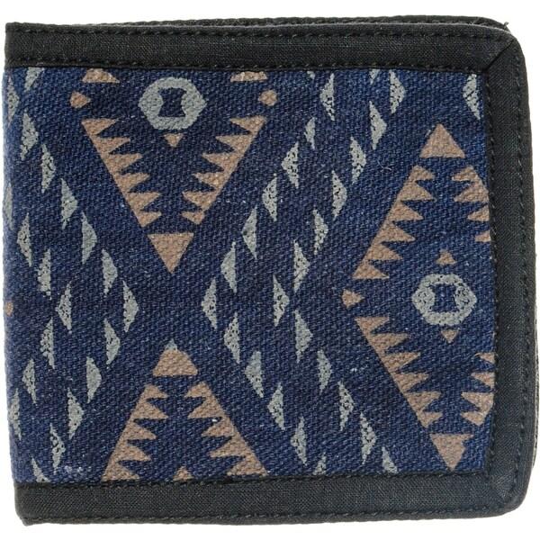 Men's Natural Tribal Print Blue Cotton Bi-fold Wallet (Nepal)