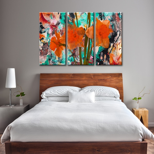 ready2hangart 39 painted petals xxii 39 3 piece canvas wall. Black Bedroom Furniture Sets. Home Design Ideas