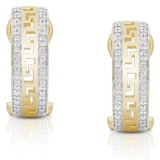 Finesque Sterling Silver 1/5ct TDW Diamond Greek Key Design Hoop Earrings (I-J, I2-I3)