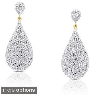 Finesque Sterling Silver 1/5ct TDW Diamond Teardrop Dangle Earrings (I-J, I2-I3)