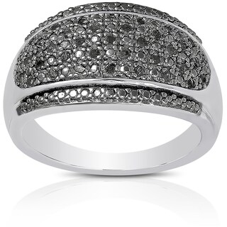 Finesque Sterling Silver 1/5ct TDW Black Diamond Ring (I-J, I2-I3)