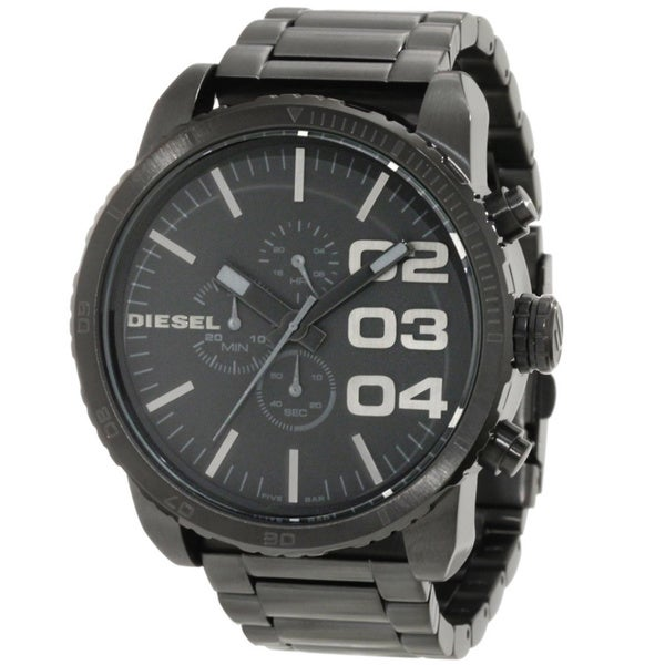 Diesel Men's DZ4207 'Double Down' Black Chronograph Stainless Steel Watch