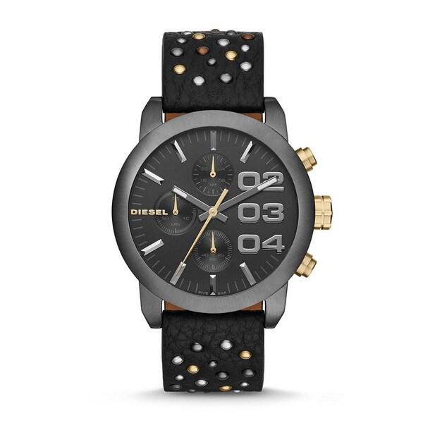 Diesel Unisex DZ5432 'Flare' Black Chronograph Leather Watch