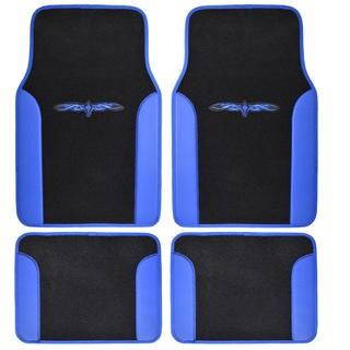 BDK Blue 4-piece Vinyl Trim Tattoo Design Car Floor Mat Set