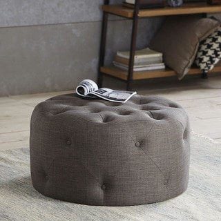 Madison Park Donna Round Tufted Ottoman--2 Color Options