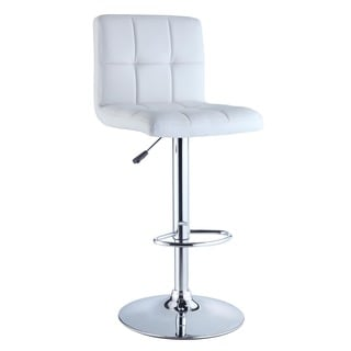 Powell White Quilted Faux Leather Chrome Adjustable Height Bar Stool