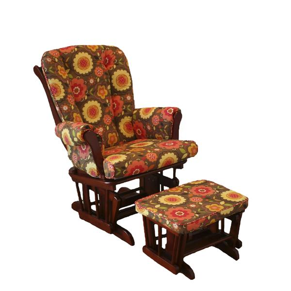 Cotton Tale 'Peggy Sue Collection' Brown Floral Glider with Ottoman