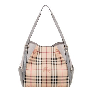 Burberry Small Haymarket Check/ Leather Tote Bag
