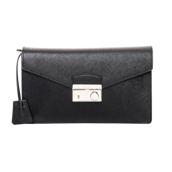 Prada Black Saffiano Clutch