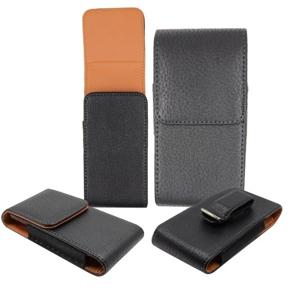 Insten Black Premium Vertical Pouch Phone Case Cover With Magnetic Flip/ Belt Clip For Samsung Galaxy Mega 6.3