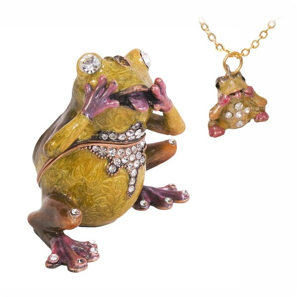 Frog Swarovski Crystal Trinket Box and Necklace Set