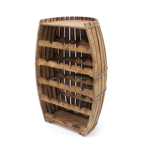 Brown Wood Barrel Wine Rack