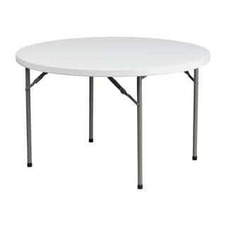 Offex 48-inch Round Granite White Plastic Folding Table