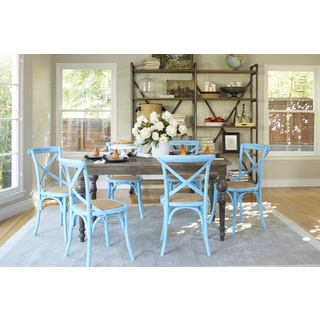 angelo:HOME Hillgate 7 Piece Dining Set in Antique Burnt Oak with Blue Chairs