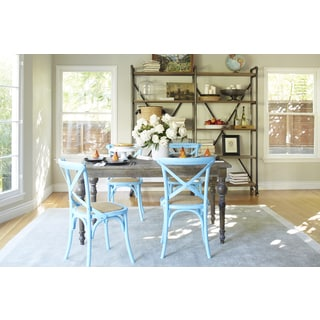 angelo:HOME Hillgate 5 Piece Dining Set in Antique Burnt Oak with Blue Chairs