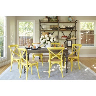 angelo:HOME Hillgate 7 Piece Dining Set in Antique Burnt Oak with Yellow Chairs