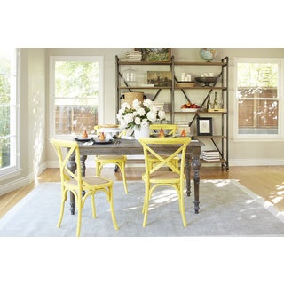 angelo:HOME Hillgate 5 Piece Dining Set in Antique Burnt Oak with Yellow Chairs