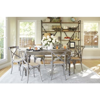 angelo:HOME Hillgate 7 Piece Dining Set in Antique Burnt Oak