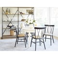 angelo:HOME Hillgate 5 Piece Dining Set in Antique White with Black Chairs