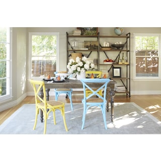 angelo:HOME Hillgate 5 Piece Dining Set in Antique Burnt Oak with Yellow and Blue Chairs