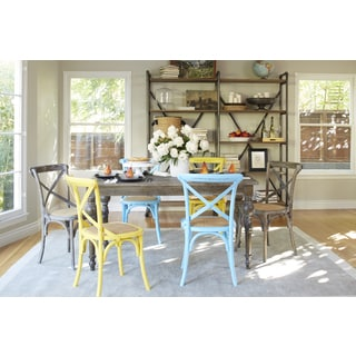 angelo:HOME Hillgate 7 Piece Dining Set in Antique Burnt Oak with Yellow, Blue and Burnt Oak Chairs