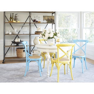 angelo:HOME Hillgate 5 Piece Dining Set in Antique White with Yellow and Blue Chairs