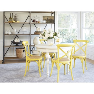 angelo:HOME Hillgate 5 Piece Dining Set in Antique White with Yellow Chairs