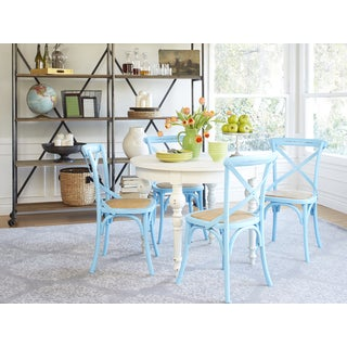 angelo:HOME Hillgate 5 Piece Dining Set in Antique White with Blue Chairs