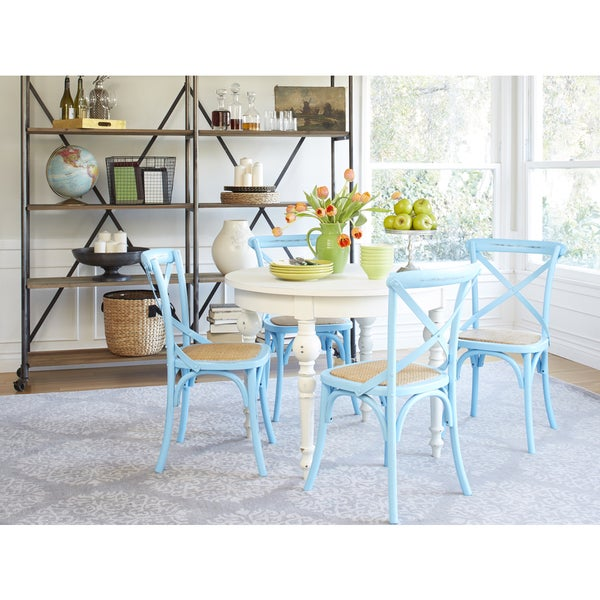 Hillgate 5 Piece Dining Set In Antique White & Blue Chairs