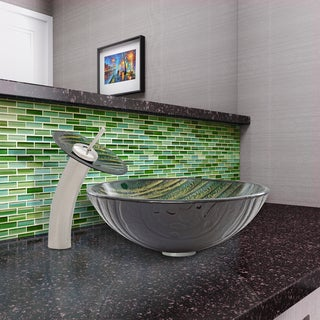 VIGO Green Asteroid Glass Vessel Sink and Waterfall Faucet Set in Brushed Nickel Finish